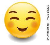flushed smiling emoji smiley... | Shutterstock .eps vector #742115323