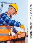 construction worker in... | Shutterstock . vector #742116478