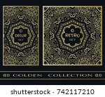 golden doodle floral geometric... | Shutterstock .eps vector #742117210