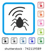 radio bug icon. flat gray...