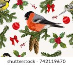 hand drawn christmas vintage... | Shutterstock .eps vector #742119670