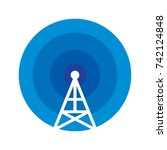 blue radio signal logo icon