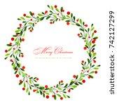 christmas wreath | Shutterstock .eps vector #742127299