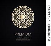 golden flower shape. gradient... | Shutterstock .eps vector #742127824
