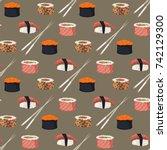 sushi rolls set sashimi seafood ... | Shutterstock .eps vector #742129300
