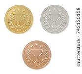 gold  silver  bronze medals set.... | Shutterstock . vector #742130158
