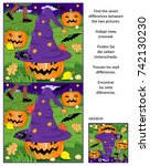 halloween themed visual puzzle  ... | Shutterstock . vector #742130230