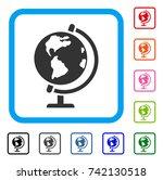 globe icon. flat grey iconic...