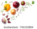 mix of sliced cucumber  garlic  ... | Shutterstock . vector #742132804