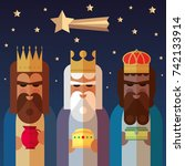 the three kings of orient. wise ... | Shutterstock .eps vector #742133914