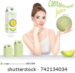 beautiful woman with cantaloupe ... | Shutterstock .eps vector #742134034