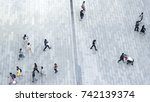top view crowd of people walk... | Shutterstock . vector #742139374