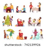 decorating christmas tree... | Shutterstock .eps vector #742139926