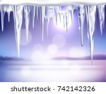 winter country landscape with... | Shutterstock .eps vector #742142326