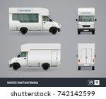 food trucks realistic ad... | Shutterstock .eps vector #742142599