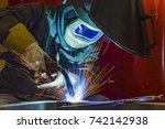 welder  craftsman  erecting... | Shutterstock . vector #742142938