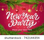 new year party   modern vector... | Shutterstock .eps vector #742144354