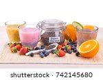 chia seeds with fresh fruits...   Shutterstock . vector #742145680