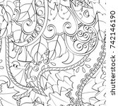 tracery seamless pattern.... | Shutterstock .eps vector #742146190