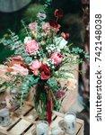 luxury bouquet of protea ...   Shutterstock . vector #742148038