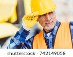 portrait shot of worker in... | Shutterstock . vector #742149058