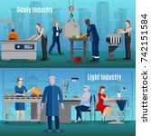 factory workers horizontal... | Shutterstock .eps vector #742151584