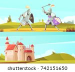 medieval horizontal cartoon... | Shutterstock .eps vector #742151650
