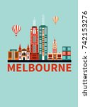 melbourne city travel... | Shutterstock . vector #742153276