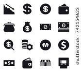 16 vector icon set   crisis ... | Shutterstock .eps vector #742154623