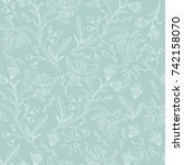 hand drawn floral seamless... | Shutterstock .eps vector #742158070