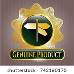 gold shiny badge with... | Shutterstock .eps vector #742160170