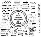 big set of hand drawn vector... | Shutterstock .eps vector #742160830