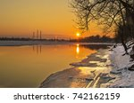 winter morning before dawn on... | Shutterstock . vector #742162159