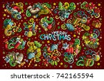 colorful vector hand drawn... | Shutterstock .eps vector #742165594