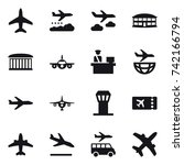 16 vector icon set   plane ... | Shutterstock .eps vector #742166794