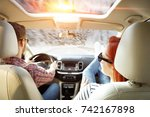 winter trip and two lovers in... | Shutterstock . vector #742167898