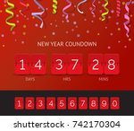 flip countdown timer realistic... | Shutterstock .eps vector #742170304