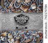 cartoon vector doodles winter... | Shutterstock .eps vector #742170784