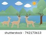 fabric art vector illustration...   Shutterstock .eps vector #742173613