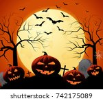 halloween poster on orange... | Shutterstock .eps vector #742175089