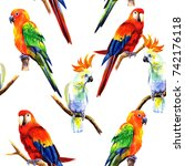 bright parrots in watercolor... | Shutterstock . vector #742176118
