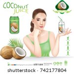 beautiful woman with coconut... | Shutterstock .eps vector #742177804