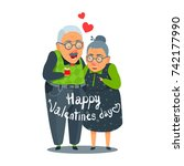 old  aged man and woman funny... | Shutterstock .eps vector #742177990