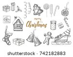 christmas hand drawn objects... | Shutterstock .eps vector #742182883