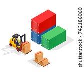 unloading of sea cargo... | Shutterstock . vector #742186060