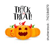 cartoon devil pumpkin character ... | Shutterstock .eps vector #742186870