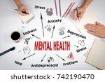 mental health concept. chart... | Shutterstock . vector #742190470