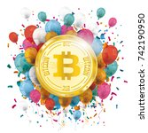 golden bitcoin with colored... | Shutterstock .eps vector #742190950