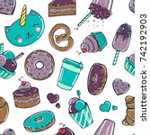 seamless pattern with candy ... | Shutterstock .eps vector #742192903