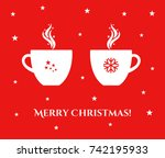 two christmas cups with coffee... | Shutterstock .eps vector #742195933